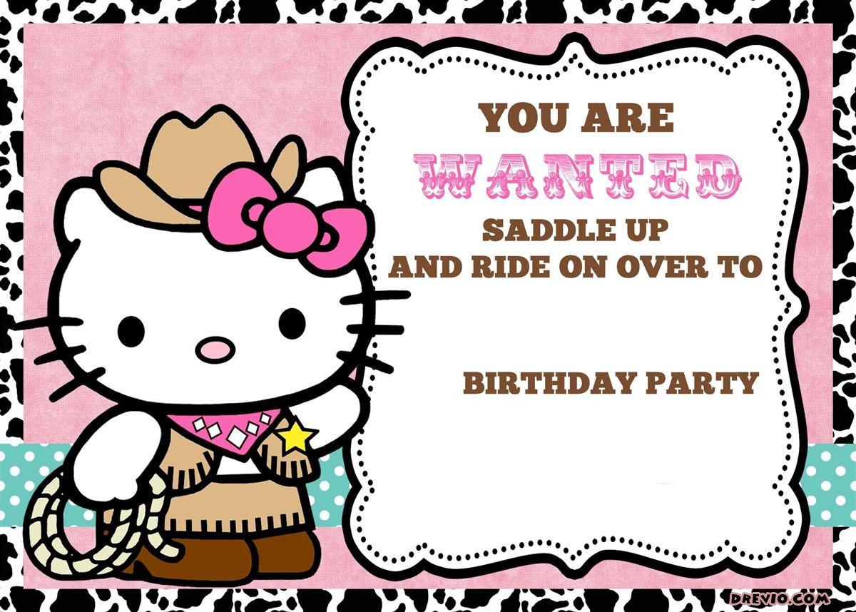 free printable hello kitty birthday party invitations