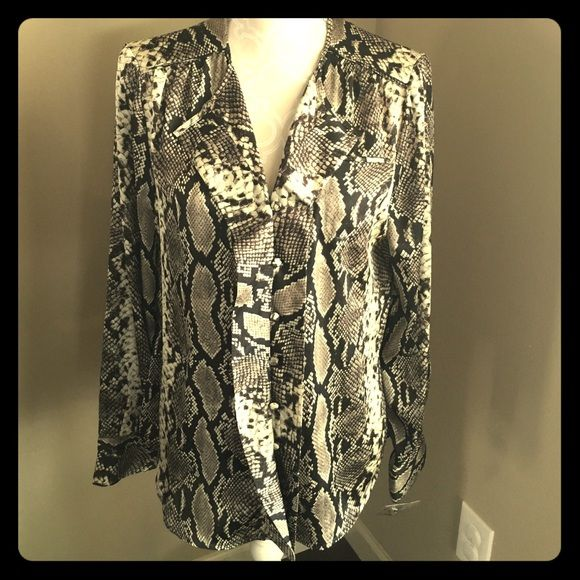 Jones NY python blouse New without tags but extra button attached. Gorgeous print. 100% polyester. Jones New York Tops Blouses