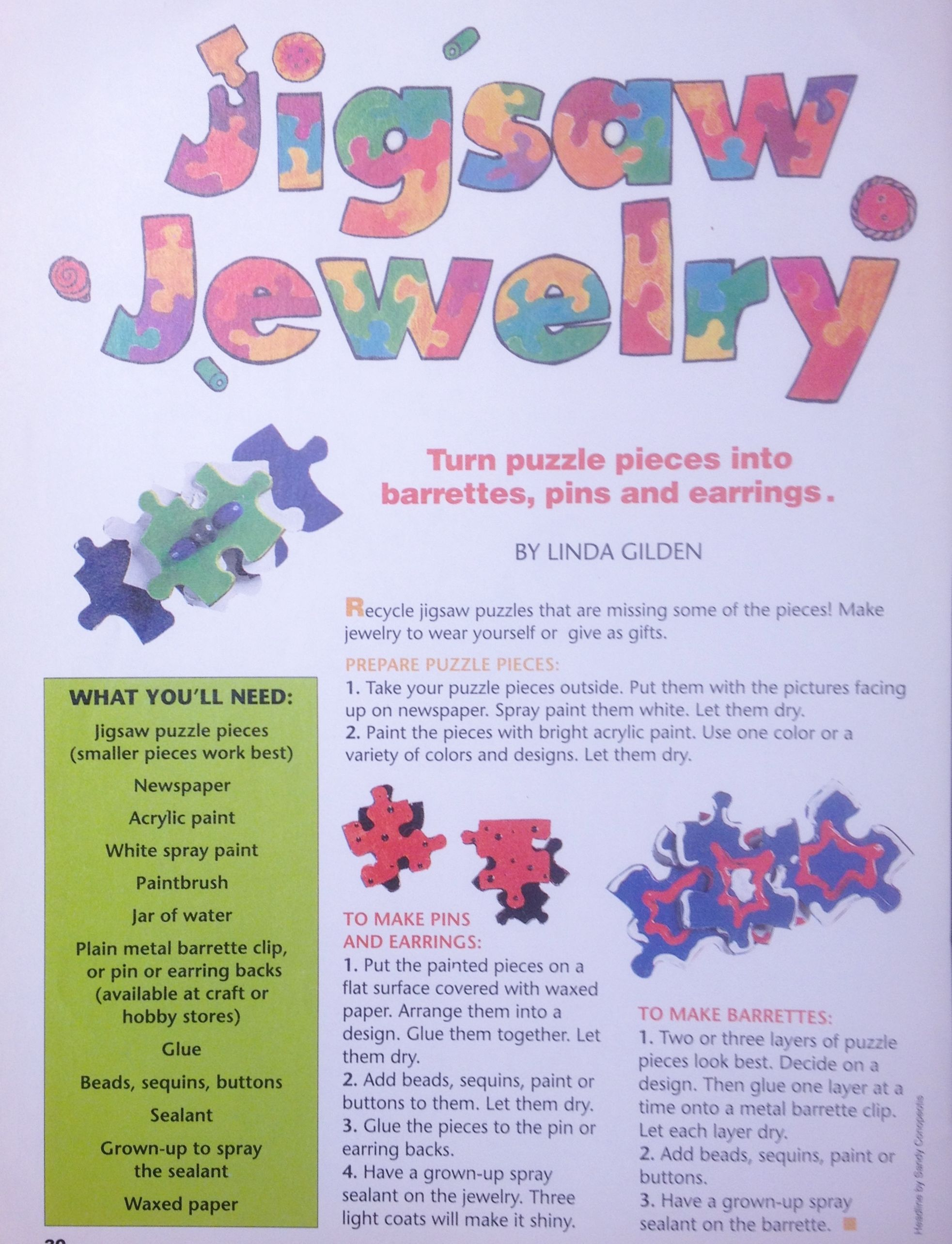 Jigsaw Jewelry Recycle Puzzle Pieces