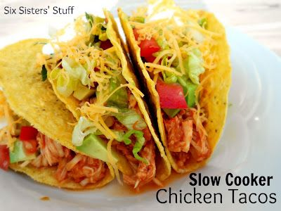 3 Ingredient Slow Cooker Tacos- or you could use the chicken for quesdillas, salad, burritos . . . it's delicious in any dish! SixSistersStuff.com #recipe #slowcooker #chicken