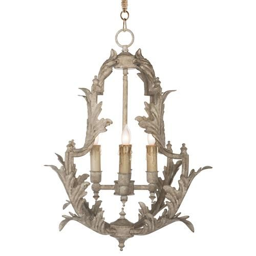Clarisse French Country Rustic White Chandelier 23 Inch
