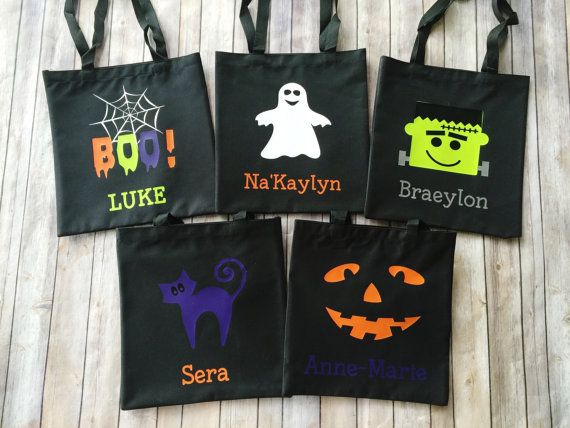 Personalized Trick Or Treat Bag Hy Tote Canvas Ghost Boo Frankenstein Pumpkin