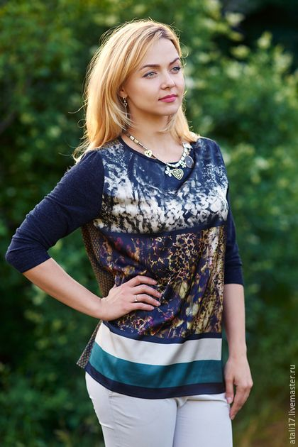 865c0eaf61c Блузки ручной работы. Ярмарка Мастеров - ручная работа. Купить Блуза- шелк трикотаж.  Handmade. Разноцветный