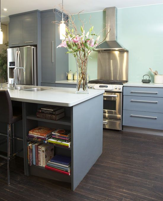 shades of blue-grey + wood + cookbook nook in modern kitchen design