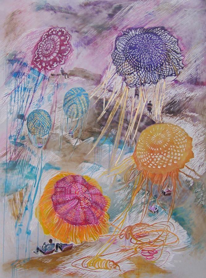 Kommunikation, 2015, 200 x 149 cm, Linolschnitt, Alkydfarbe