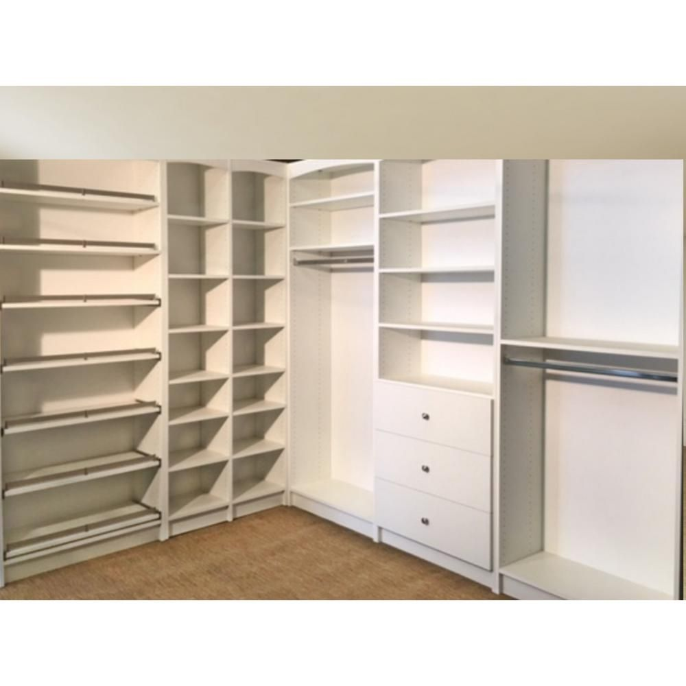 Walkin 14 In D X 159 5 In W X 84 In H White Melamine Wood Freestanding Closet System W 9478333 Closet System Wooden Closet Adjustable Shelving