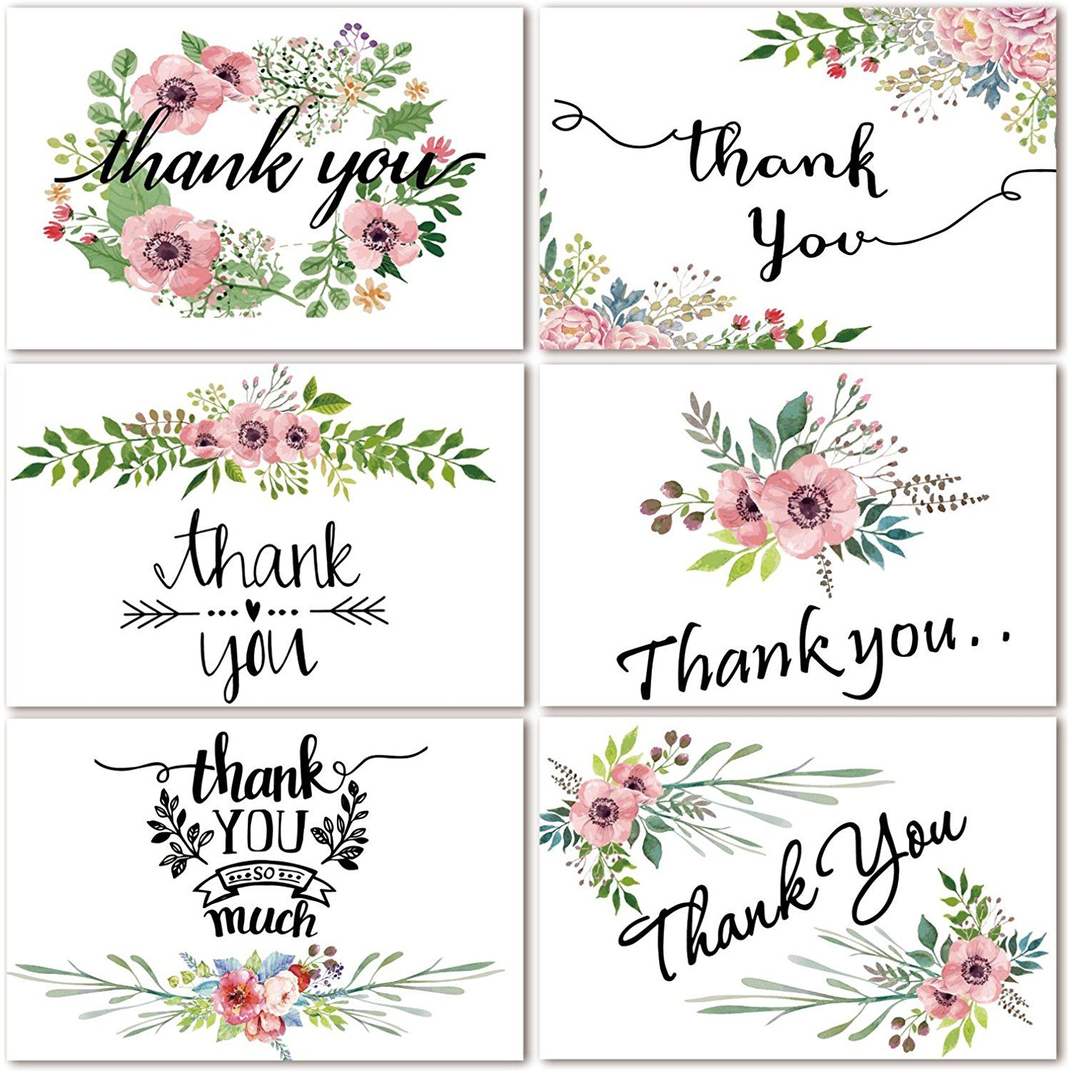 Thank You Cards Floral Flower Greeting Cards 48 Assorted Bulk Box
