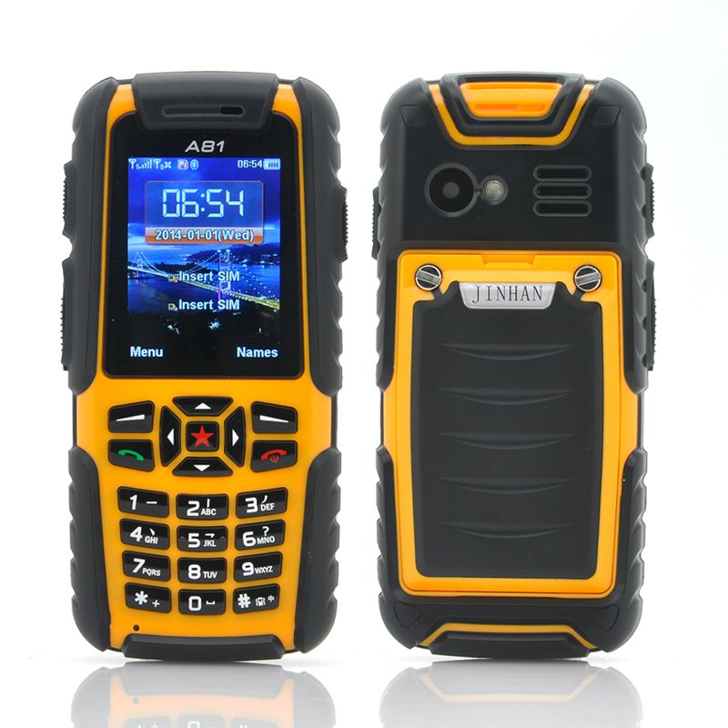 Jinhan A81 2 Inch Rugged Cell Phone Waterproof Dust Proof Shockproof Yellow
