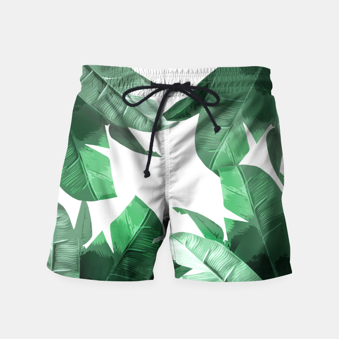 915d8c4435 Tropical Palm Swim Shorts. Men's beachwear. Banana leaf print, green  leaves, botanical.