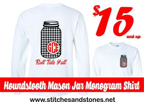 Alabama Houndstooth Mason Jar Monogram Tshirt