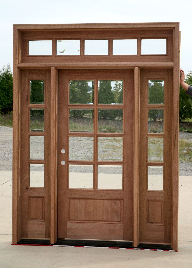 Beautiful Door The Side Lights And Transom Make This Door Set Up Great French Doors With Sidelights Craftsman Front Doors Exterior Doors With Sidelights