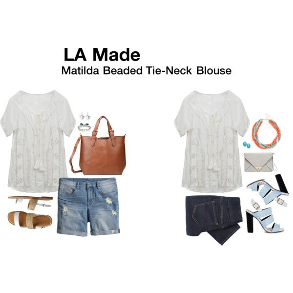 Matilda Beaded Tie-Neck Blouse
