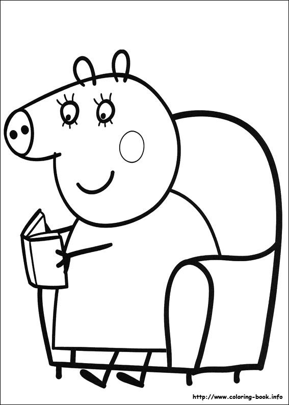 Peppa Pig coloring picture  embroidery  Pinterest  Pig party