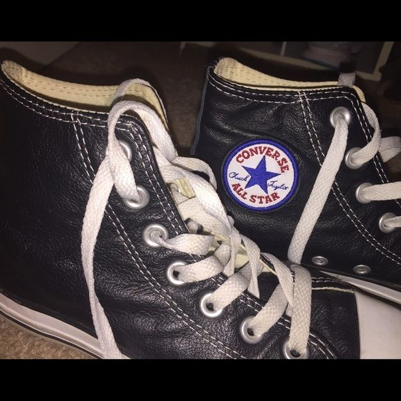 82fcf41ae41 Leather Black High Top Converse Size 4 men s 6 women s! Fits a 6.5! Bought  from another posher but they do not fit well on me. Worn in from the  previous ...