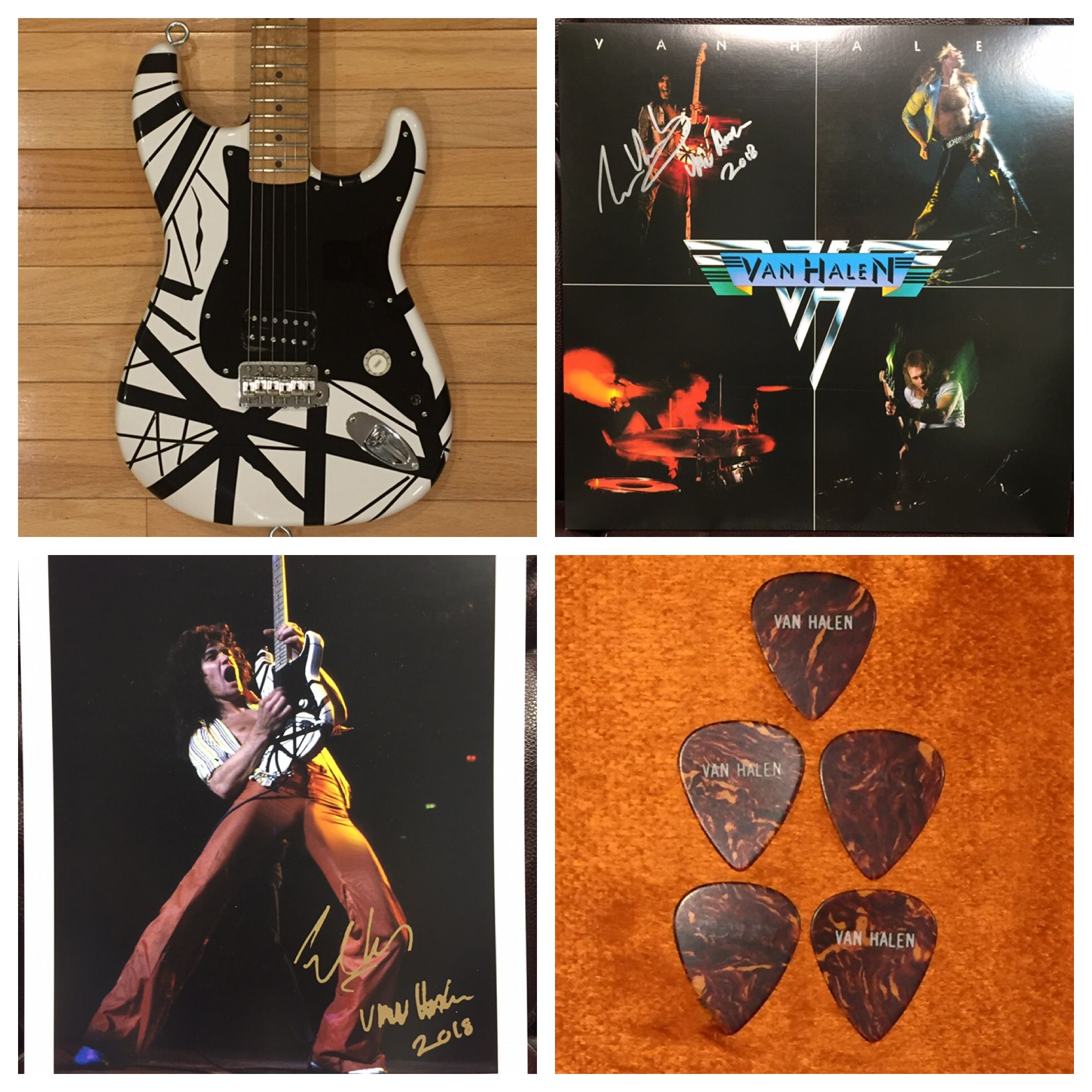 Evh Limited Edition 78 Eruption Electric Guitar W Eddie Van Halen Signed 8x10 Eddie Van Halen Signed Van Halen I Album And 5 Playing Cards Autographs Cards