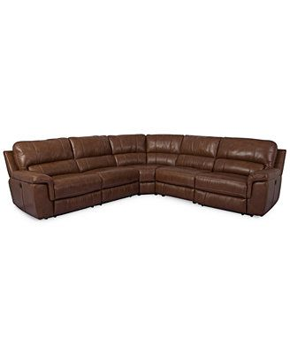 Brandie Leather 5-Piece Sectional Sofa with 3 Power Recliners