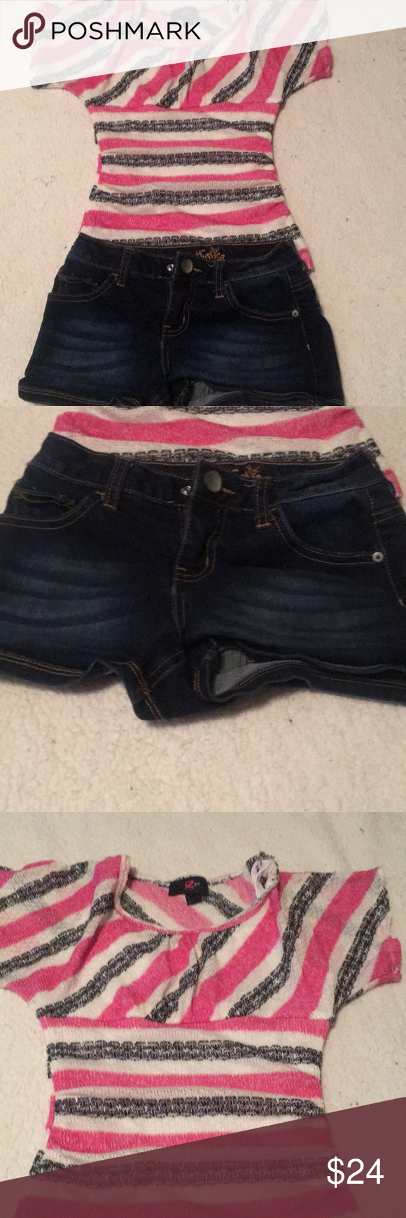 Justice And Iz Girl Blouse Jean Shorts Size 7 8 Girls Blouse Blouse Jeans Dark Denim Shorts [ 1740 x 580 Pixel ]