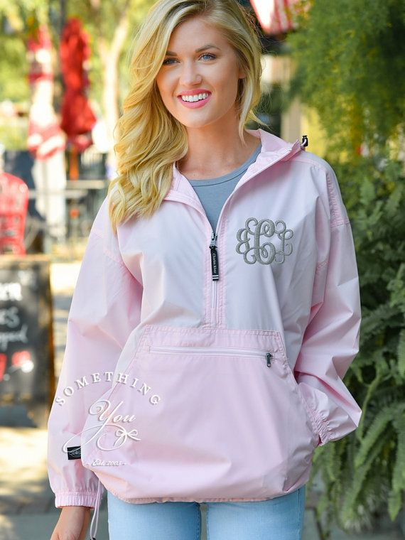 uk availability 9a6fc b145a Light Pink Monogram Windbreaker Jacket - Personalized Waterproof Rain Jacket,  Charles River Monogrammed Pack N Go Womens Spring Jackets