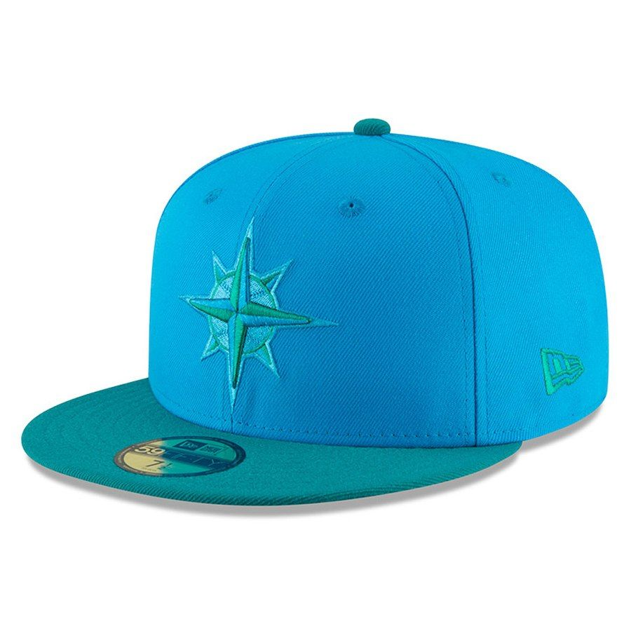 7774064afcc Youth Seattle Mariners New Era Blue Green 2018 Players  Weekend On-Field 59FIFTY  Fitted Hat