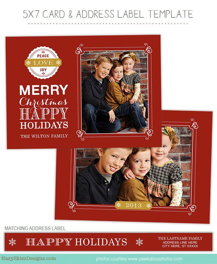 Christmas Holiday Card Templates for Photographers #photographer