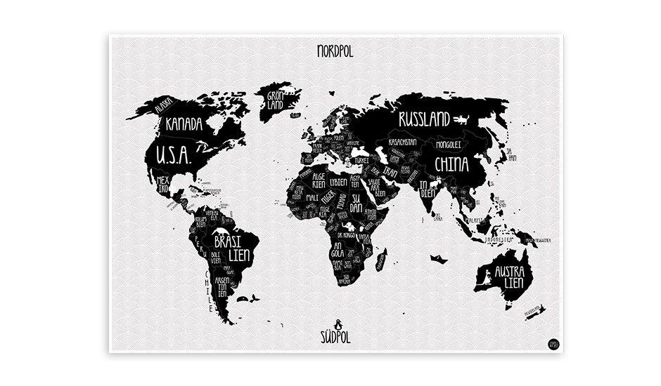 MONOQI | German World Map - Black/White