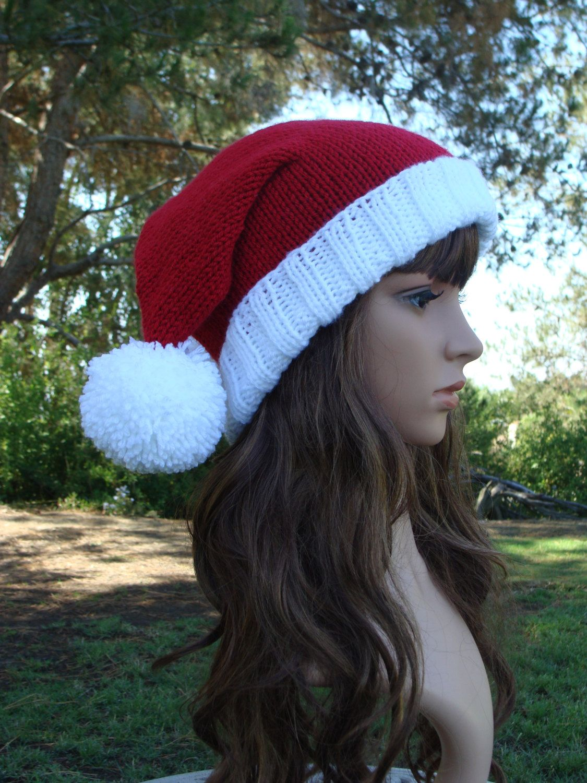 Double Pom-Pom Santa Slouchy, Santa Hat, Knit Santa Hat with 2 Pom ...