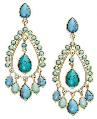 49b566cd2 Lauren Ralph Lauren Earrings, 14k Gold-Tone Reconstituted Turquoise  Chandelier Earrings - Fashion Jewelry - Jewelry & Watches - Macy's