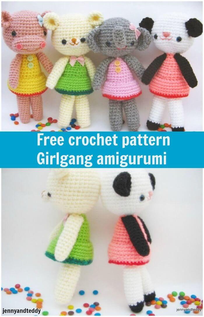 Free Crochet Pattern Girlgang Amigurumi Amigurumi Animals