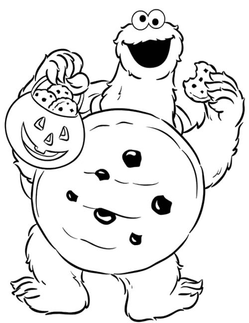 Cookie Monster Halloween Coloring Page With Images Cartoon