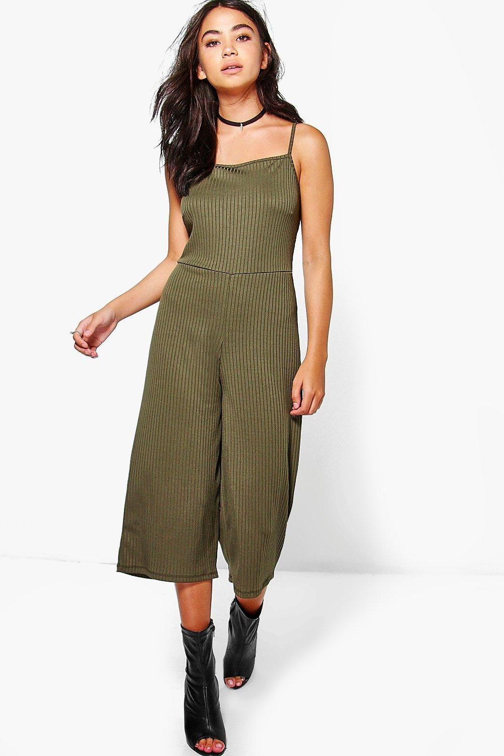 a9518b71a3d Sarah Strappy Ribbed Culotte Jumpsuit