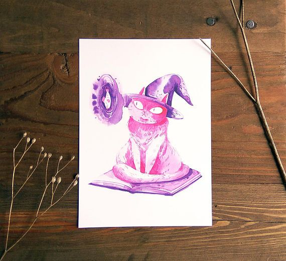 Witch cat giclée print, right on time for Halloween!