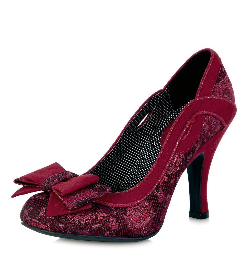Ruby Shoo Cleo Womens High Heel Court Shoes In Burgundy UK Sizes 3-8