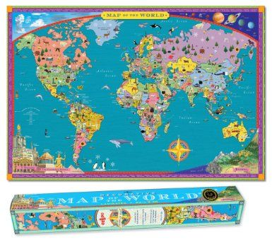 Amazon world map kids geography educational poster art toys amazon eeboo laminated world map for kids toys games gumiabroncs Image collections