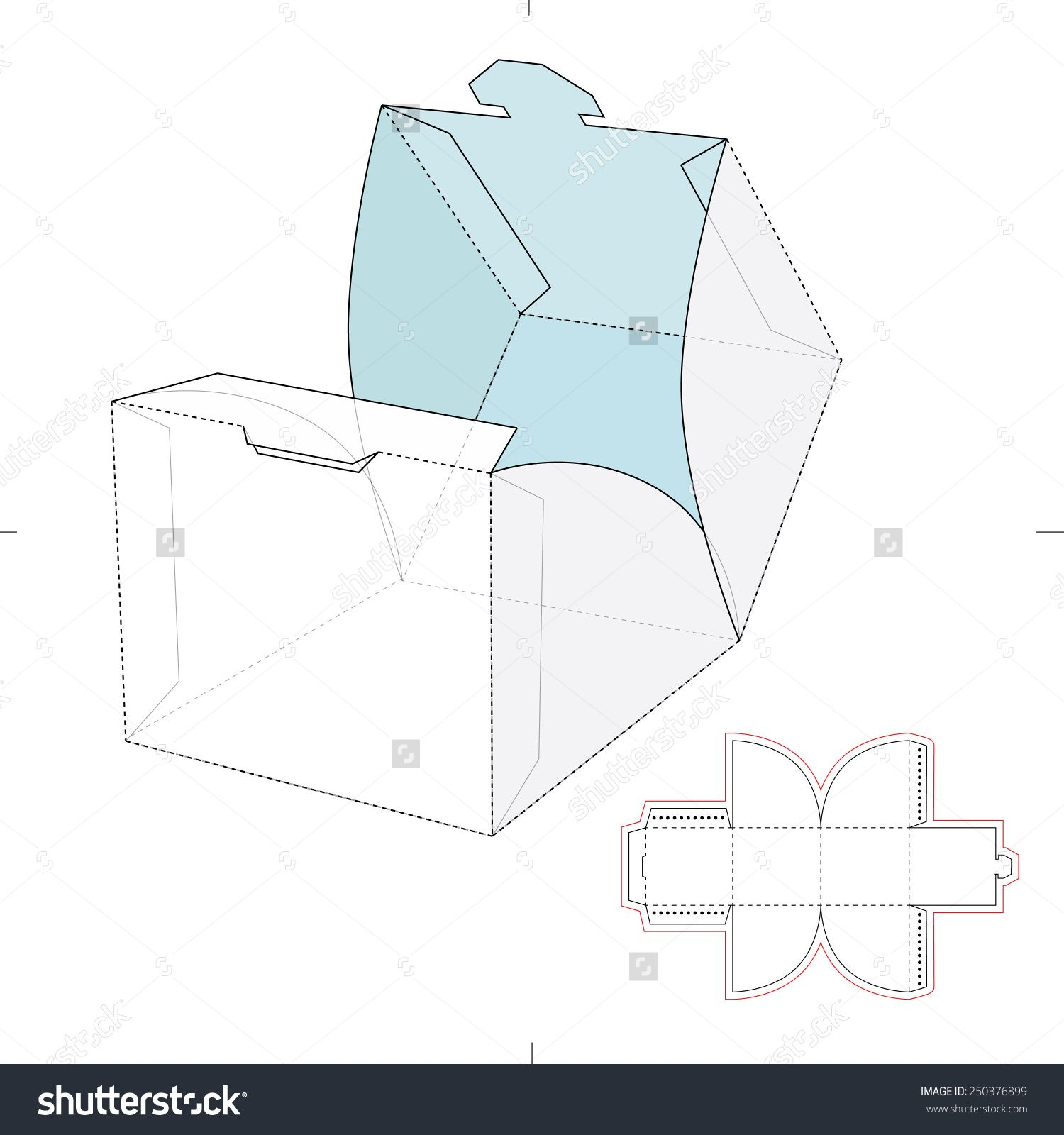 cube wrap box with die cut template stock vector illustration