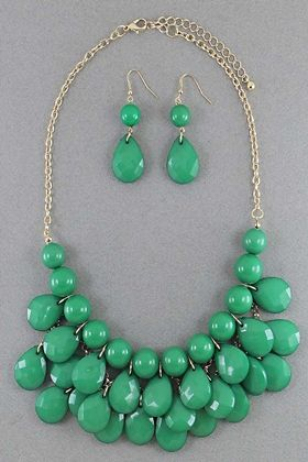 Calypso Green Beaded Necklace Set