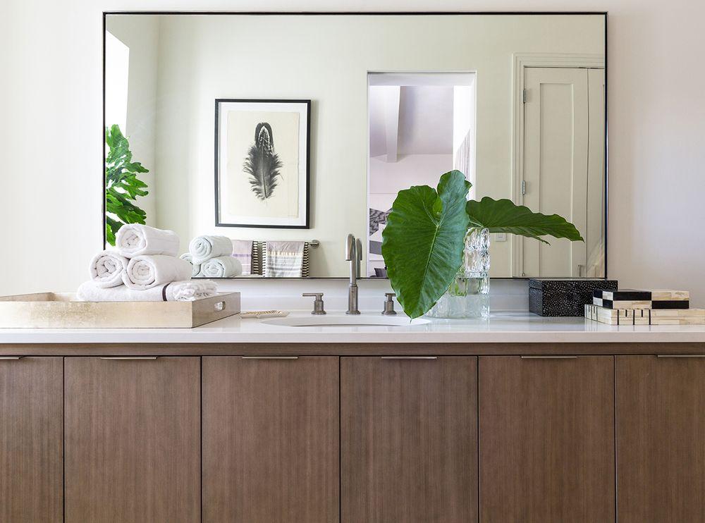 Benoist Reclaimed Wood Vanity Mirror: Custom Bathroom Vanity With Flat Front Doors And Sleek