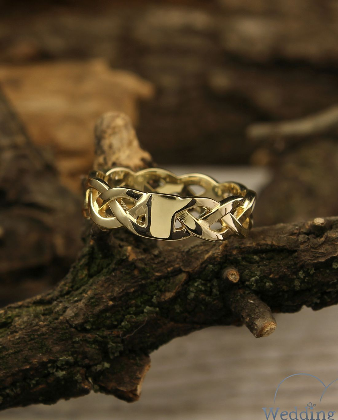 14k yellow gold braided wedding band, Twisted gold ring