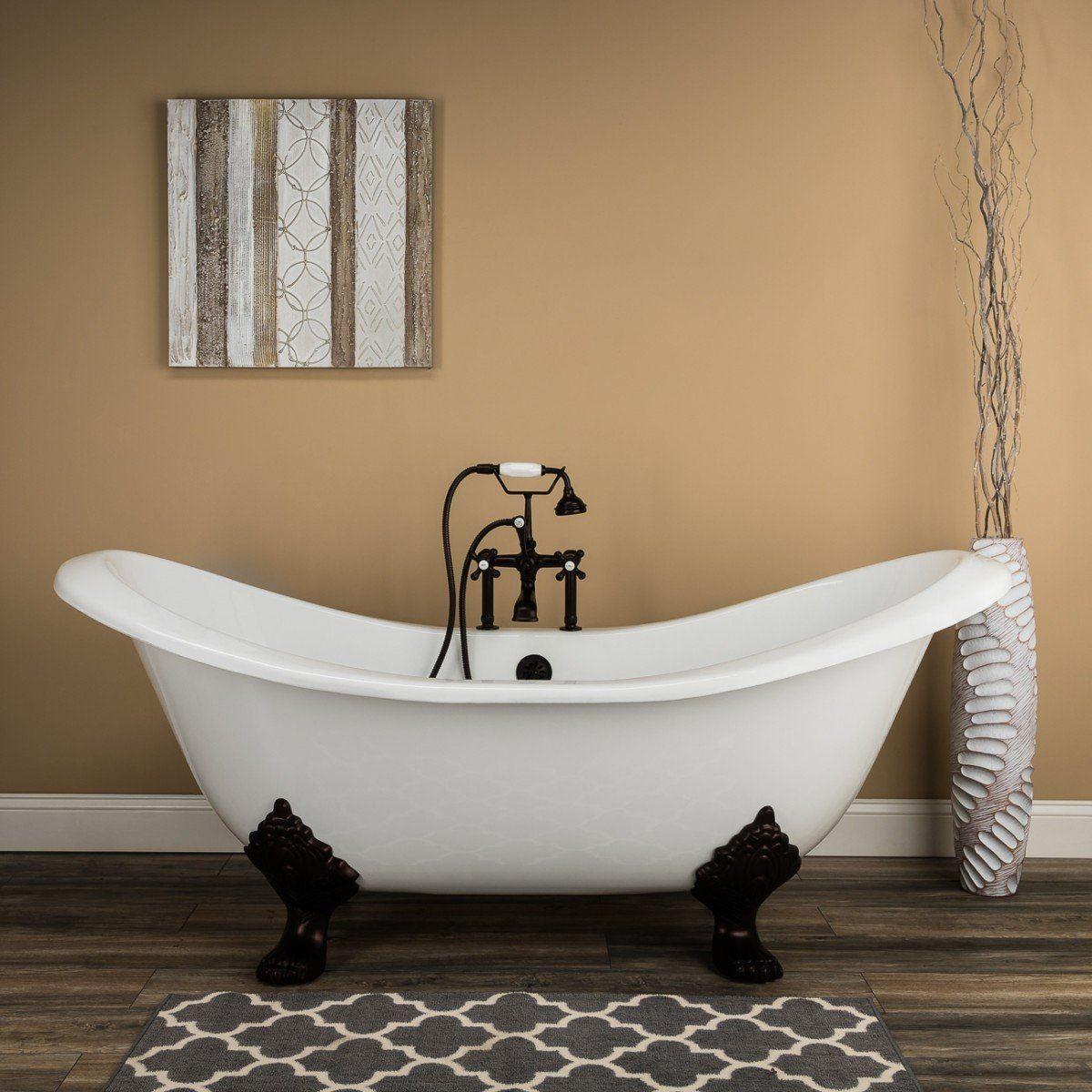 Diana 72 Inch Cast Iron Double Slipper Clawfoot Tub Package