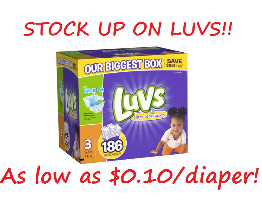 Stock Up On Luvs Diapers For As Low As 0 10 Per Diaper Luvs
