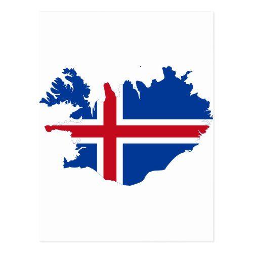 Iceland Is Island Flag Map Postcard Zazzle Com Iceland Flag Iceland Map Islands Flag