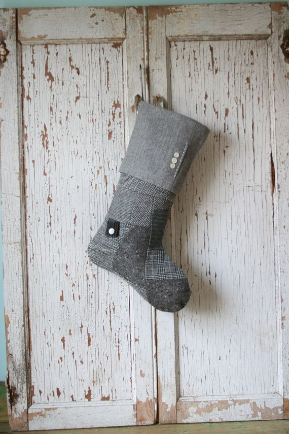 Gray Wool Patchwork Christmas Stocking  Masculine by SmokinTweed