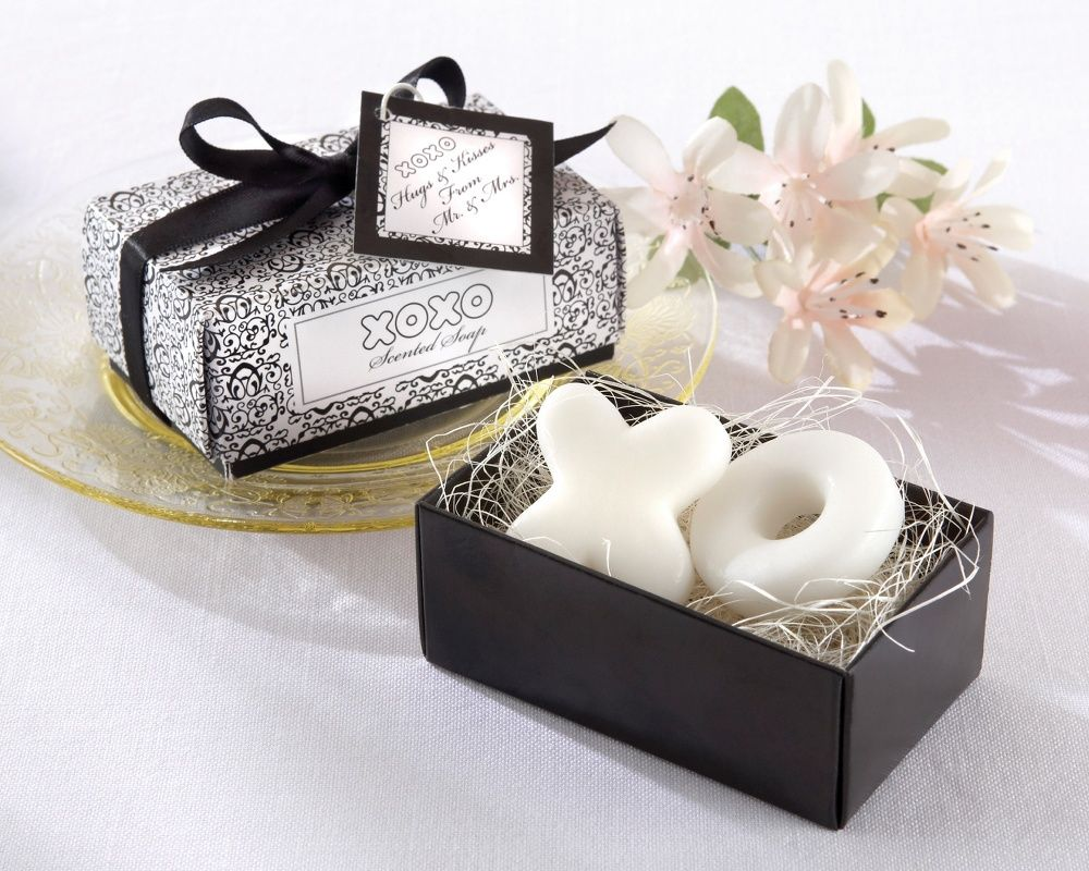 Hugs and Kisses Soap Wedding Favor for black and white wedding ...