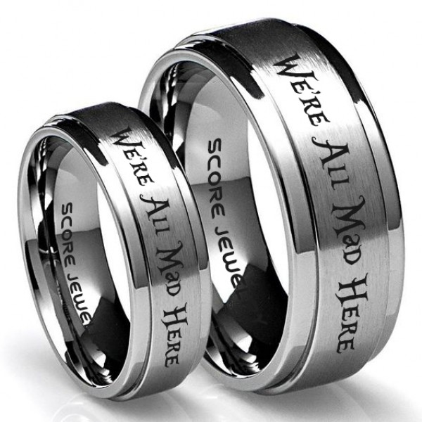 FREE SHIPPING FREE Custom Engraving 8mm Tungsten Band with Domed Edge Customized in Elvish Font Laser Engraved 8mm Silver Tungsten Ring