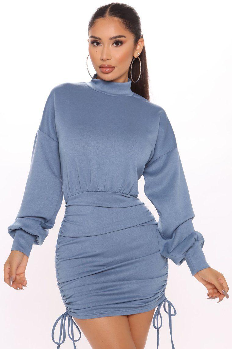 Ryann Ruched Mini Dress Denim in 2020 Evening mini