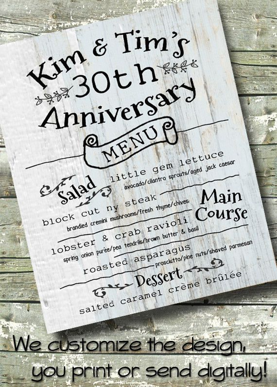 Event Dinner Menu Barn Wood Wedding Anniversary 5x7 Invitations - fresh anniversary invitation font