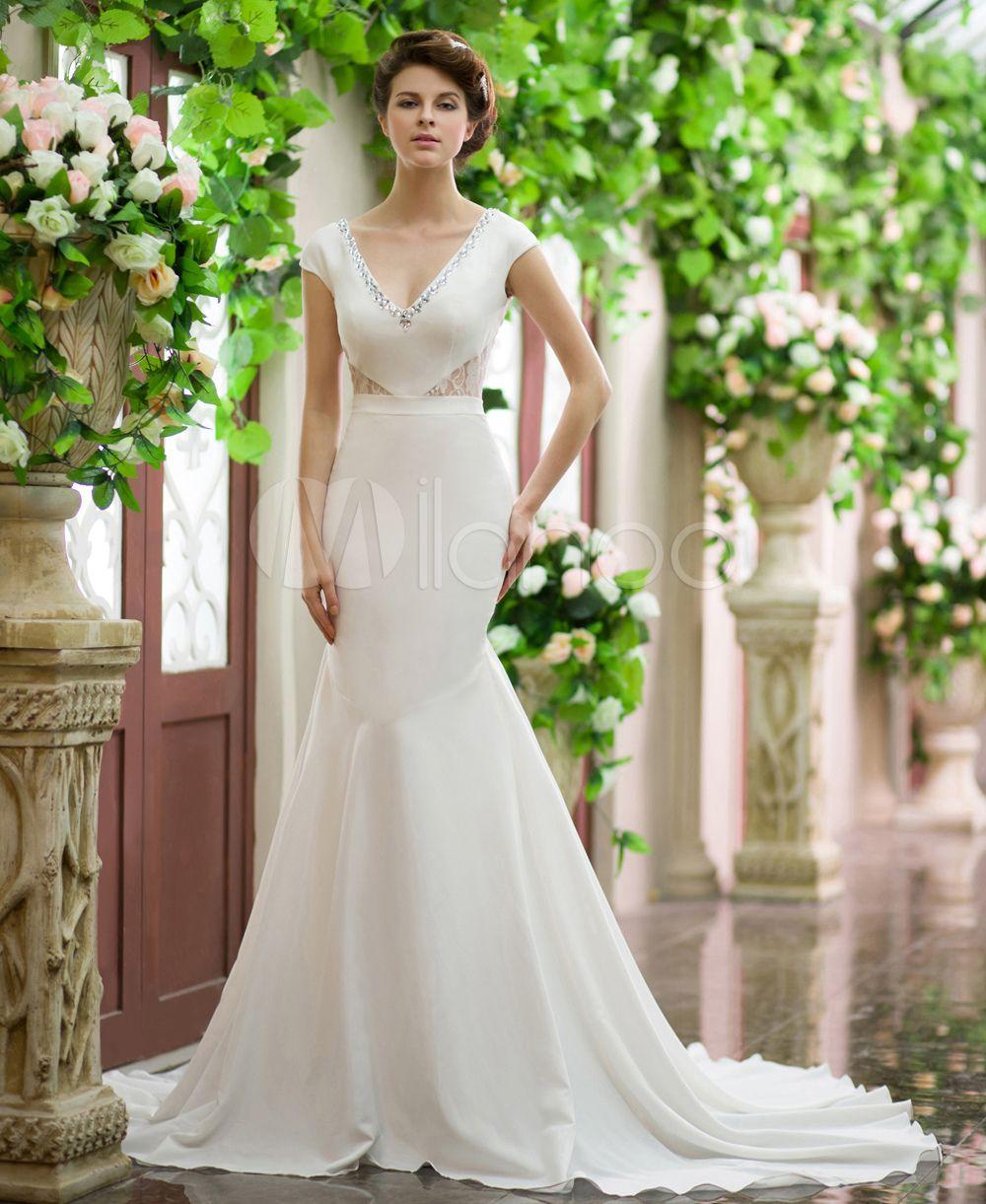 Vestido de novia de seda elástica de color marfil con escote en V ...