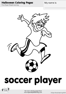Free soccer player coloring page from Super Simple Learning Tons of