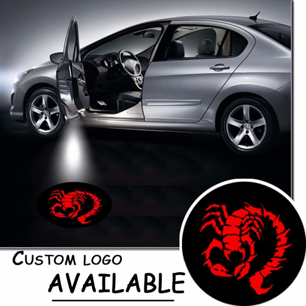 2x Car Door Ghost 3d Shadow Light Led Courtesy Welcome Lamp Logo Red Scorpion Gobo Puddle Logo Lamp 12v 4585 Lighting Logo Ghost Lights Lamp Logo