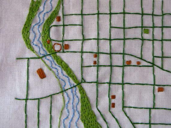 Your Hometown Custom Embroidered Map by NeedleandCompass on