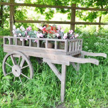 Antique Finish Large Wooden Flower Cart: Amazon.co.uk: Garden U0026 Outdoors